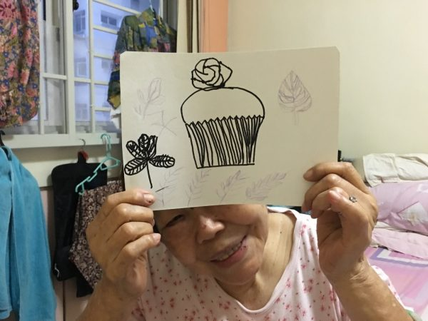 Sketching with my grandma. We try to engage her with this step by step sketch activity. This is her artwork.