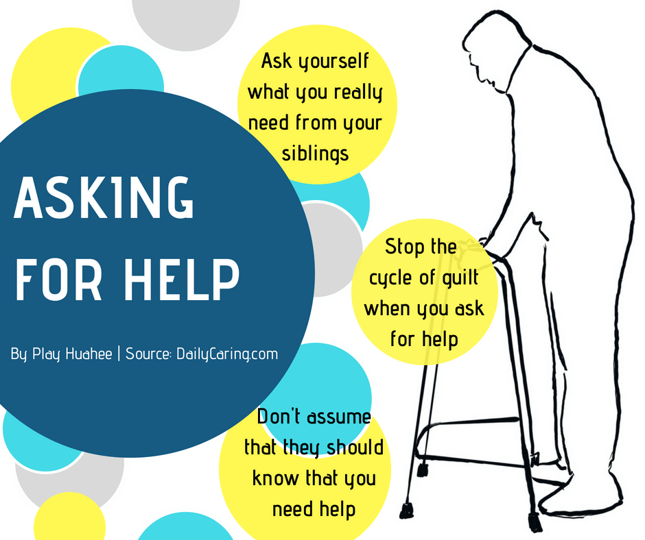 How to ask for help from your siblings? Ask yourself what you really need. Stop the cycle of guilt when you ask. Dont assume that they should know you need help.
